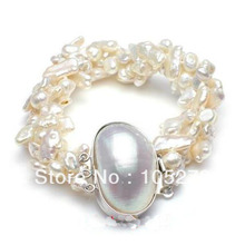 Wholesale Pearl Jewelry 8'' Charm Royal White Keshi Biwa Freshwater Pearl Bracelet Lock Strand Wedding Style New Free Shipping