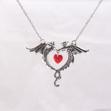 Gothic Style Alchemy Necklace Vintage Antique Silver Red Heart Collares Animal Fly Dragons Necklace Jewelry for Women and Men