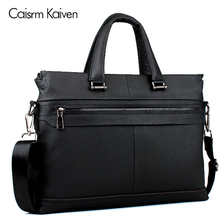 Men's casual briefcase corporate shoulder bag leather messenger bag computer laptop bag men's travel bag(China)