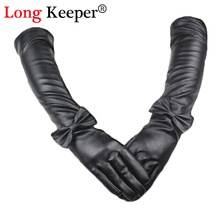 Vintage Ladies' Leather Gloves Full Finger Bowknot Elbow Long Gloves Women Sexy Sleeves Winter Black Glove 50cm Length M201(China)