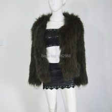 SJ484 America Boutique Best Selling Women Raccoon Knitting Jackets Real Fur Women Outer Wear Spring(China)