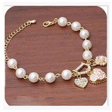 SL116 Wholesale Girl pulseras Bijoux 2017 New Imitation Pearl Heart D Bracelet For Women Charm Bracelets Wedding Jewelry Bangles