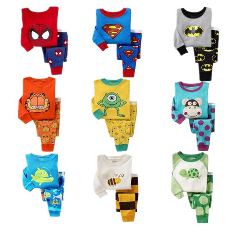 Children cartoon pajamas sets 2017 boys Spiderman ...