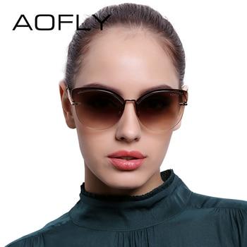 Aofly revo reflexivo óculos de sol sem aro óculos de sol das mulheres rosa liga pernas óculos estilo elegante designer original oculos af7941