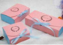 bi-color paper gift cake packaging boxes wholesale ribbon decorate dessert cake gift package box cheap price wedding cake boxes(China)