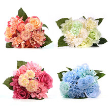 Artificial Roses Flower A Bunch Silk Fake Dahlia Flowers Bridal Wedding Bouquet Desk Ornaments Home Table Decoration Supplies
