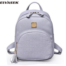 Elvasek 2017 women backpacks fashion ladies travel bags pu leather backpack small style shopping bag student's school backpacks(China)