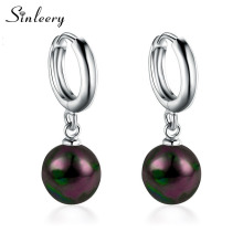 SINLEERY Trendy Women 8mm Black Pearl Earrings Drops White Gold Color Bridal Wedding Party Jewelry Accessories ES114 SSD