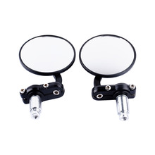 "Oversea Black Motorcycle 3""Round 7/8""Handle Bar End Rearview Mirrors For Honda FOR Harley(China)"