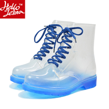 2016 Women Rainboots Transparent Waterproof Colorful Spring Autumn  Fashion Shoes Rain Rubber Boots Woman Ankle Boots XWX195