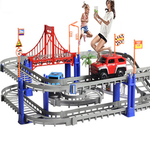 Racing Car Track Toy Electric Rail Car Double Train Track Model Pista Hot wheels car-styling orbit car slot Toy Machine for boys