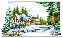 diamond embroidery snow scenery picture rhinestones mosaic house crafts winter painting photo cross white clean trees needlework
