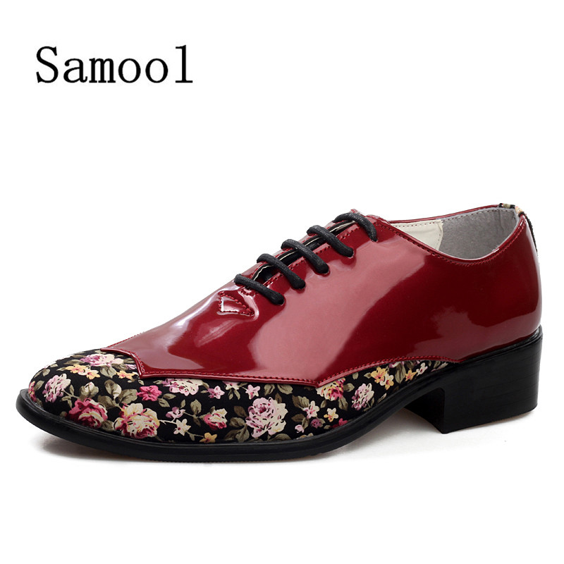 SAMOOL 2017 Casual Shoes For Men Low Heel Leather Shoes Mens Fashion Business Party Shoes Red Male Shoes Mix Color Oxford <br>