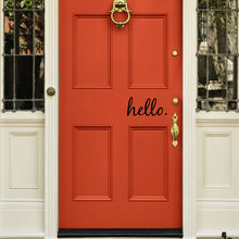 Hello Welcome - Vinyl Door Decal Sticker Wall Family Kids Welcome Home Lettering Quote  Kitchen Welcoming Greetings Sticker Art