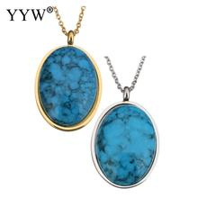2017 Fashion native howlite Necklace Jewelry 2017 Fashion Stainless Steel Pendent Necklace 2lnch extender chain Flat Oval(China)