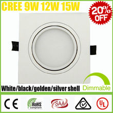Square CREE 9W 12W 15W SMD5730 Dimmable /Non LED Downlights Fixture Recessed Ceiling Down Lights Lamps Warm Cool Natural white