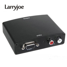 Larryjoe PC Laptop Computer Analog VGA to HDMI HDTV Converter+R/L Stereo Audio with Power Adpater in Gift packae Free shipping