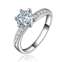 JEXXI Classic Women Wedding Jewelry High Quality 925 Stamp Sterling Silver Finger Band 6 Claw Engagement Anniversary Rings(China)