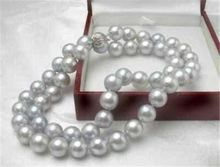 Rare! Gray 8MM Akoya Cultured Shell Pearl Necklace 18'' AAA(China)