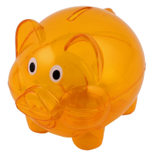 Plastic Piggy Bank Coin Money Cash Saver Savings Safe Box Clear Orange(China)