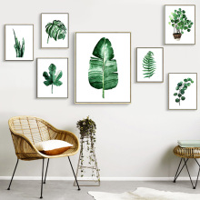 Christmas Modern Green Plants Leaf Aluminum Alloy Metal Picture Frame Poster Nordic Kids Room Canvas Painting Decor Have Frame(China)