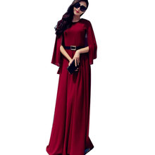 Nice MAXI Dresses New Fashion Summer Korean Style Chiffon Cape Red/Blue Bohemian Women's Party Floor-Length Dress 165