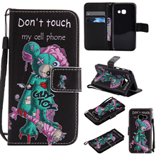 Colorful Pattern One eyed mouse Card Slot Wallet PU Leather Stand Flip Case Cover for Samsung Galaxy A3 2017