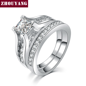 Ouro branco Plated 0.5ct AAA CZ Studded Anéis Moda Wedding & Engagement Ring Set For Women ZYR570