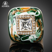 AZORA Gold Color Stellux Austrian Crystal Multicolour Oil Painting Pattern Ring TR0084(China)