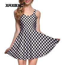XAXBXC Plus Size Fashion Women Summer Reversible Pleated Dress Sexy Gril Vest Skater Dress Black White Square Paid Check Prints