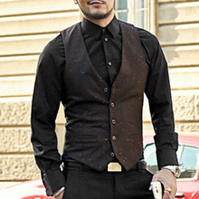 Slim Chaleco Hombre casual Sleeveless Waistcoat Suit Mens Dress Suit Vest Male British Style Woolen Single breasted Vintage vest(China)