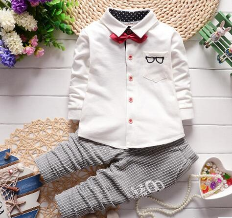 Kids clothes set long sleeve t-shirt+pants suits 2pcs boys girls suits boutique outfits gentlemen toddler baby clothing sets(China (Mainland))