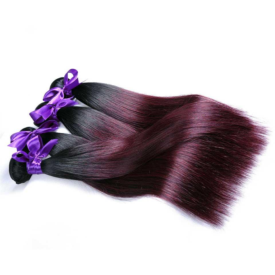 1b Burgundy Ombre Brazilian Straight Human Hair Weave Bundles Two Tone 1b 99J Shining Star Non Remy Hair Extension Dark Red 1Pc