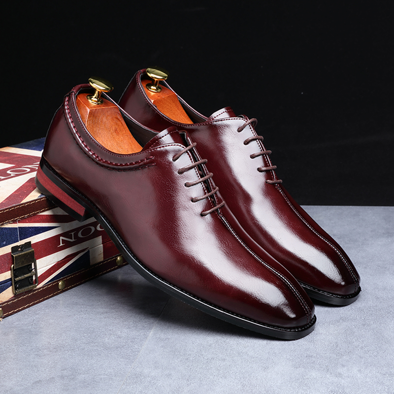 2019 Newest Men Dress Shoes Designer Business Office Lace-Up Loafers Casual Driving Shoes Men's Flat Party Leather Shoes 3 Color (11)
