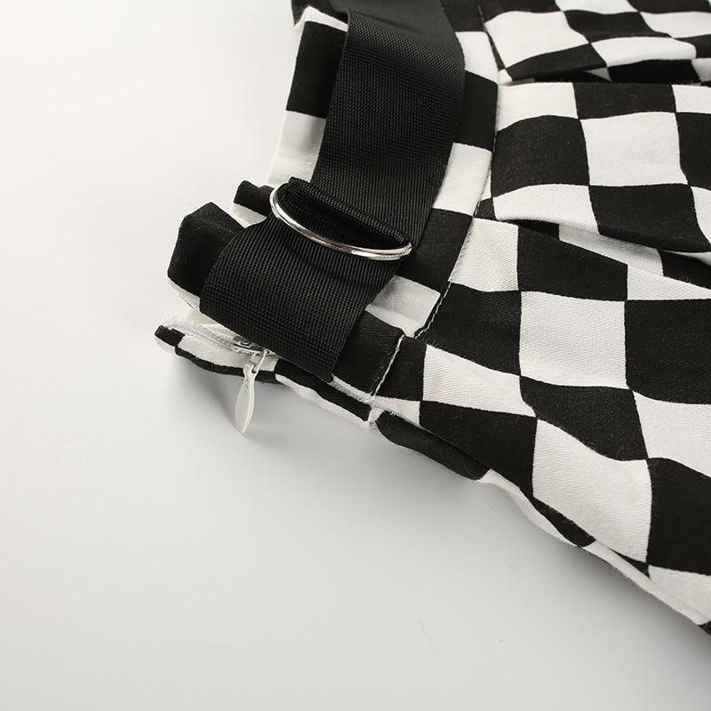 12Sweetown Korean Fashion Checkerboard Pleated Skirts Womens Sashes High Waist Zipper Cotton Short Skirt Woman Summer 2018 Skirts