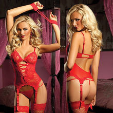 Buy Sexy womens Xmas Underwear Sleepwear Babydoll+G String Lace mini Dress