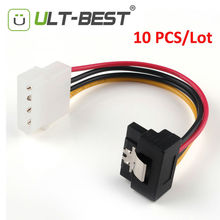 ULT-Best 10PCS Molex 4pin to SATA 15pin Power Right Angle 90 Degree Hard Disk Cable 15CM Serial ATA Cables Cabo Power(China)