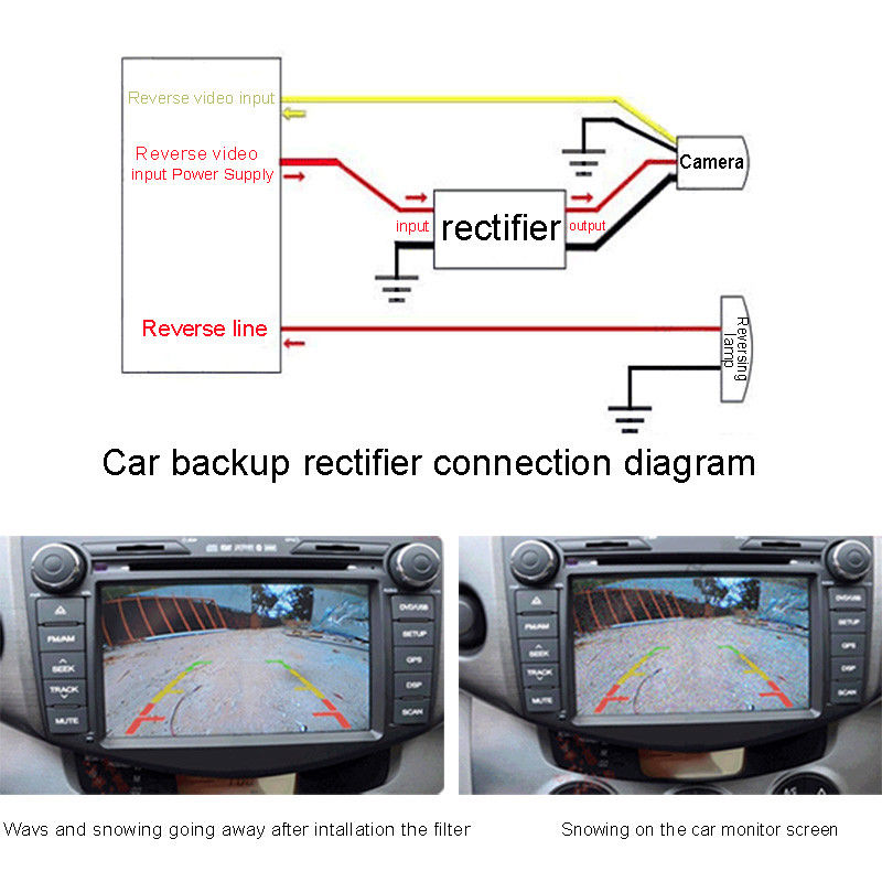 1pc 12V DC Power Relay Capacitor Filter Connector Rectifier for Car Rear View Backup Camera Rectifier Auto Car Camera Filter