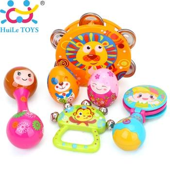 6 pcs/ensemble Coloré Bébé Hochet Clochette Musical Tambourin Toys Enfants Bébé Toys Bande Dessinée Sable Oeuf Maracas Tambour Cloche Hochet Toys