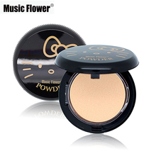 Music Flower Brand Face Makeup Hello Kitty Style Pressed Powder 3 Colors Facial Powder Foundation Whitening Concealer Cosmetics(China)