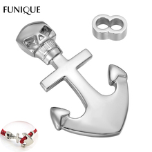 FUNIQUE Clasps 1Set Double Hole Skull Anchor Clasps Hook Silver Tone Stainless Steel Clasp For Leather Bracelet DIY 43mmx26mm