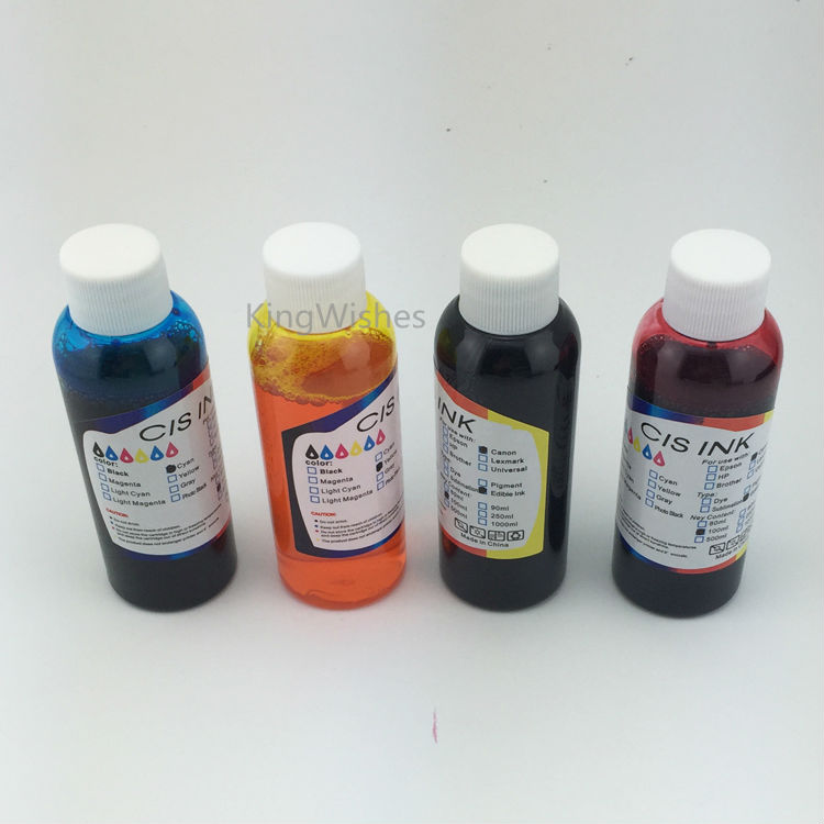 Free Shipping 4PCS T1411 T1412 T1413 T1414 Edible Ink For Epson WF-7018 WF-7511 WF-7521 BK C M Y<br>