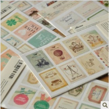 8 bags/lot (128 pcs) DIY Vintage Retro Classic Stamp Sticker Flowers Birds Scrapbook Paper For Decoration Free shipping 519