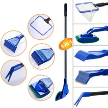 5 in 1 Aquarium Tank Complete Clean Set Fish Net Gravel Rake Algae Scraper Fork Sponge Brush Glass Aquarium Cleaner Tool Kit