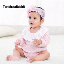 Baby Girls Ruffles Cuff Bodysuits Organic Cotton Newborn Girl Clothing Baby's Underwear Toddler Long Sleeve Infant Jumpsuit(China)