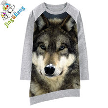 Childre dress Long sleeve Girl clothing black Wolf  Fashion Kids Baby Dresses bibs Print Children Dress Designer Kids Clothes