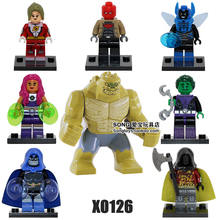 8pcs Robin Beast Boy Red Hood Killer Croc Raven Blue Beetle STARFIRE Super Heroes Assemble minifig Building Blocks Toys Gifts(China)