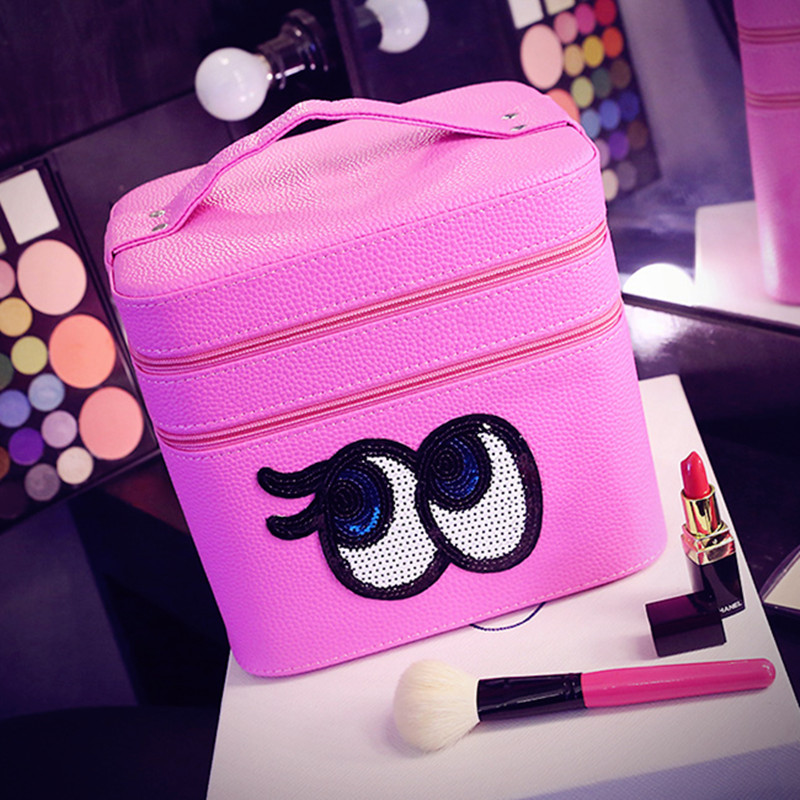 2017 The Most Fashionable Cartoon Eyes Cosmetic Bag Large Capacity Portable Women Makeup Bags Double layer Travel Make up Bag<br>