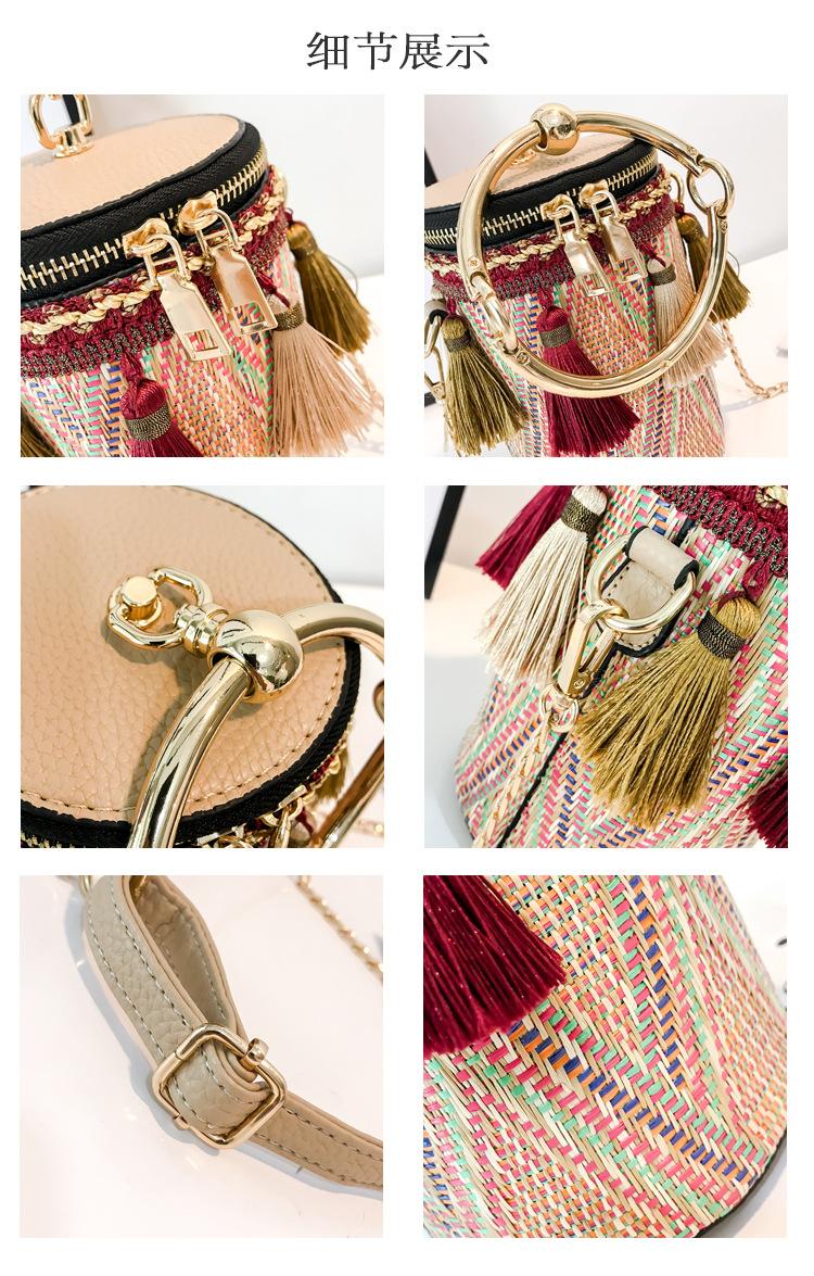 2018 Summer Straw Bags Rattan Woven Beach Shoulder Bags Women Bucket Ladies Crossbody Bag Handbag Female Bohemian Handmade Bolsa 13