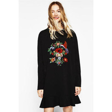 Europe And The United States Flowers Sequins Embroidery Round Neck Long - Sleeved Dress Stitching Lotus Leaf Backing Skit